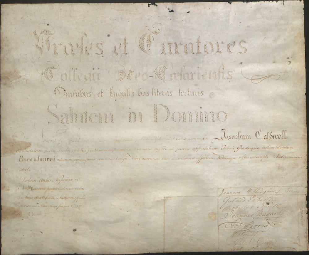 """""""Joseph Caldwell's Diploma from the College of New Jersey at Princeton, 1791 (Scan 1),"""" in the Joseph Caldwell Papers #127, Southern Historical Collection, Wilson Library, University of North Carolina at Chapel Hill."""