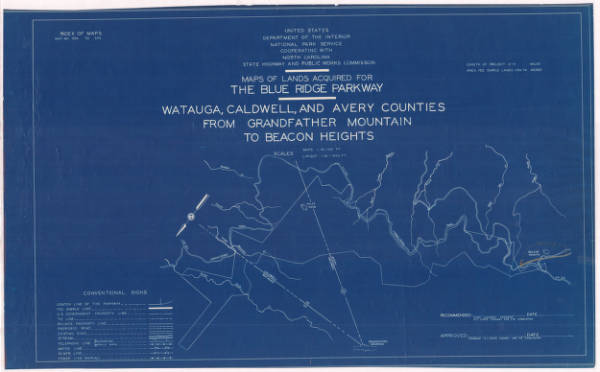 Map of Lands Acquired for the Blue Ridge Parkway
