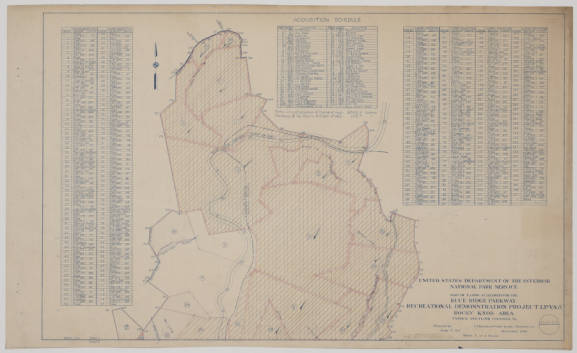 Map of Lands Acquired for the Blue Ridge Parkway, Recreational Demonstration Project LP-VA-8 Rocky Knob Area, sheet 1 of 3, December 1936