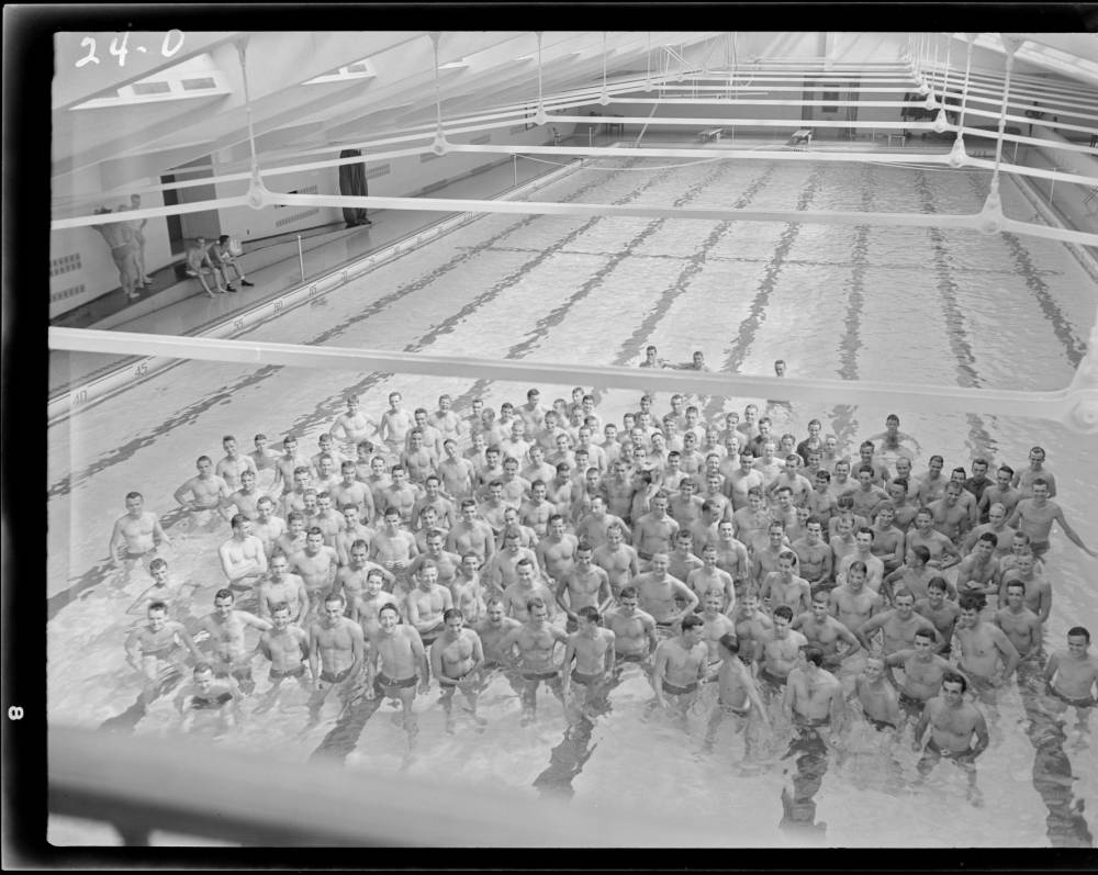 October 5,, Image: Black and White Film Box 01, Swimming October 5, 1942, Sheet Film 0024: Swimming, 5 October 1942: Scan 1 Filename: P0027_0024_0001.tif