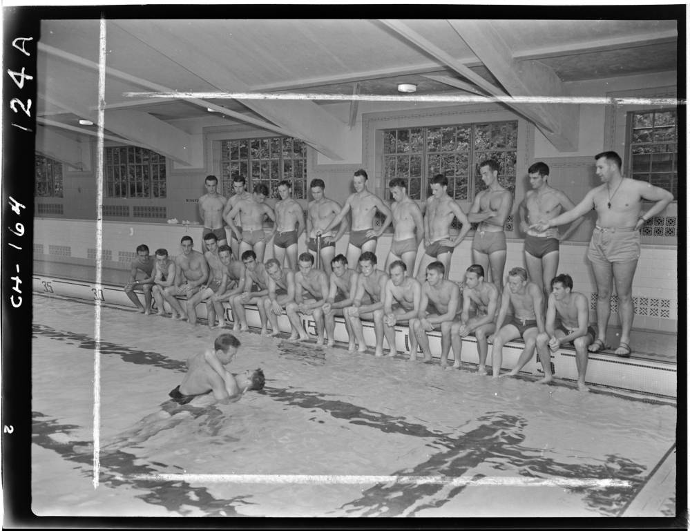 Black and White Film Box 01 Sheet Film P0027/0124 (digitized 1 scans) Swimming, circa 1942 Black-and-white sheet film negatives 1 image