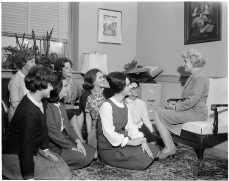 Dean Kitty Carmichael with group of girls, 1 March 1965 : Scan 1. From http://dc.lib.unc.edu/cdm/singleitem/collection/dig_nccpa/id/29056/rec/11