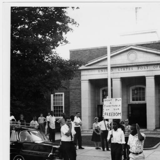 Jock Lauterer, Protests, sit-ins and march in front of Chapel Hill Post Office; Civil Rights activities including Quinton Baker and Pat Cusack, circa 1964-1967