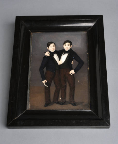 Portrait, watercolor on ivory, depicting Chang and Eng Bunker, circa 1835-1836 (with frame)