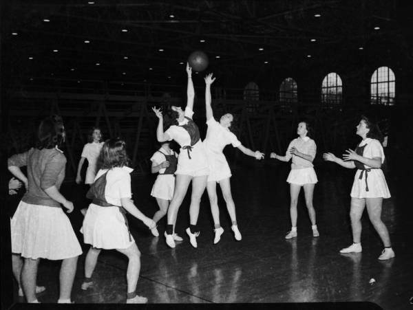 UNC women playing basketball, circa 1941-1942