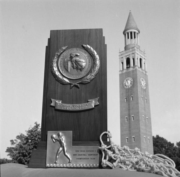 1982 NCAA trophy at Bell Tower