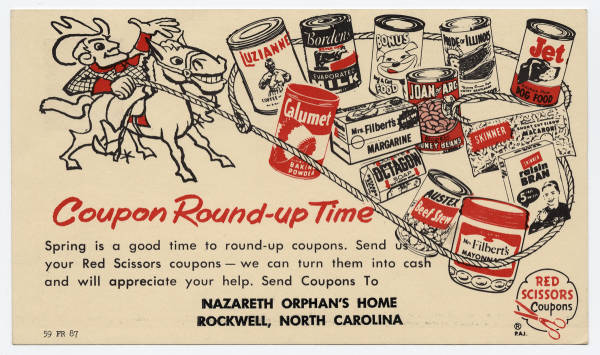 Coupon Round-up Time, Nazareth Orphan's Home, Rockwell, North Carolina