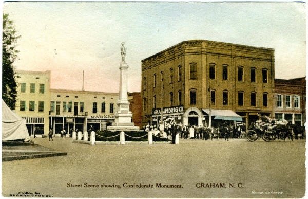 Street Scene Showing Confederate Monument, Graham, N.C.