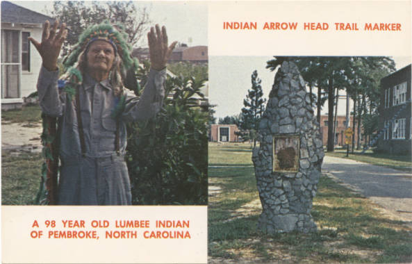 A 98 Year Old Lumbee Indian of Pembroke, North Carolina and an Indian Arrow Head Trail Marker