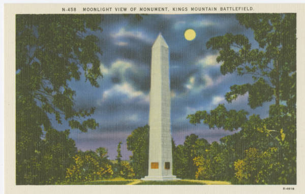 Moonlight view of Monument, Kings Mountain Battlefield