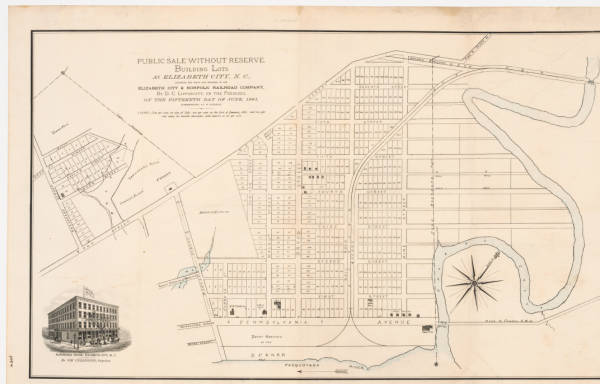 Public sale without reserve: building lots at Elizabeth City, N.C., adjoining the depot and wharves of the Elizabeth City & Norfolk Railroad Company, by D.C. Lippincott, on the premises, on the fifteenth day of June, 1881, commencing at 10 o'clock