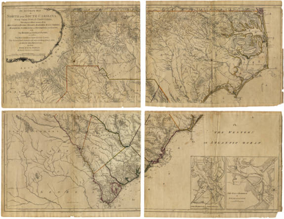 An Accurate Map of North and South Carolina With Their Indian Frontiers, Shewing in a distinct manner all the Mountains, Rivers, Swamps, Marshes, Bays, Creeks, Harbours, Sandbanks and Soundings on the Coasts, with The Roads and Indian Paths; as well as The Boundary or Provincial Lines, The Several Townships and other divisions of the Land in Both the Provinces; the whole from Actual Surveys by Henry Mouzon and Others