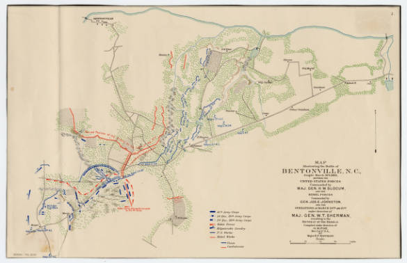 Map illlustrating the Battle of Bentonville, N.C.