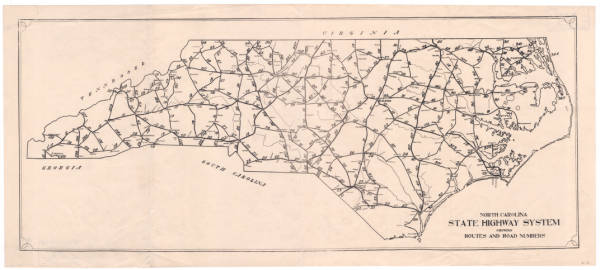 North Carolina state highway system showing routes and road numbers.