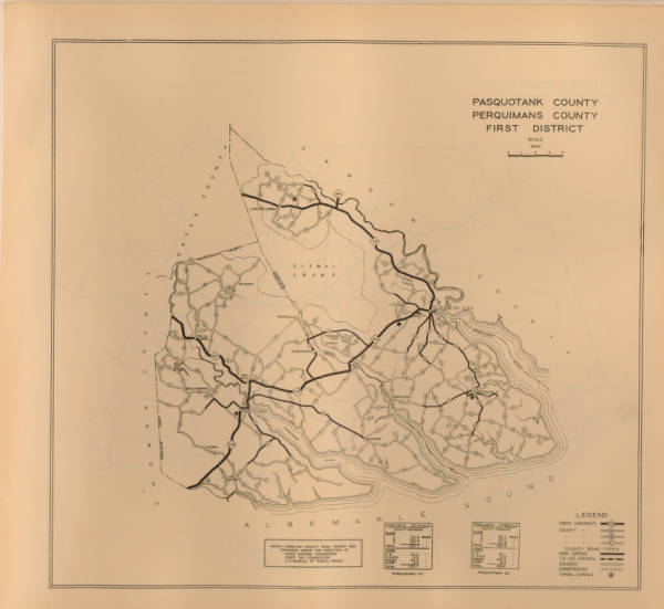 North Carolina County Road Survey of Pasquotank County and Perquimans County