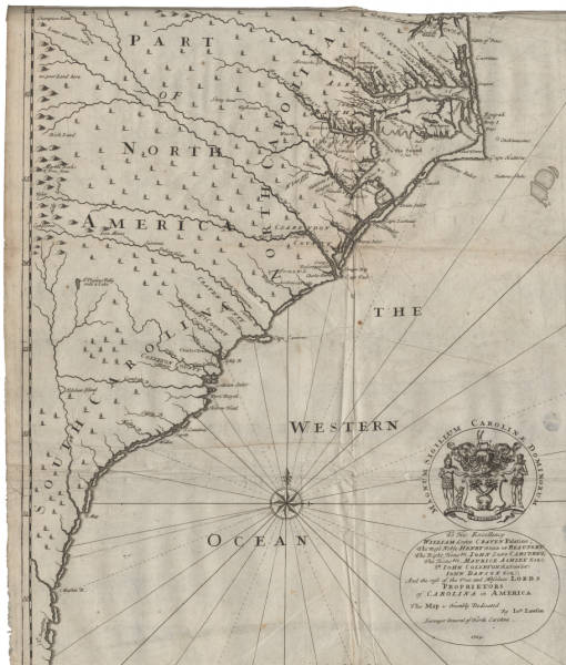 To His Excellency William Lord Palatine; The most Noble Henry Duke of Beaufort; The Right Honoble. Iohn, Lord Carteret; The Honoble Maurice Ashley, Esq., Sr. John Colleton Baronet; Iohn Danson, Esq; And the rest of the True and Absolute Lords Proprietors of Carolina in America This Map is Humbly Dedicated by Ion. Lawson Surveyor General of North Carolina