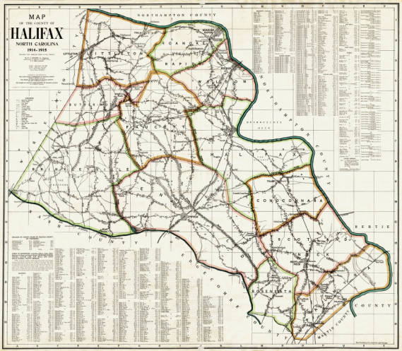 Map of the county of Halifax, North Carolina, 1914-1915