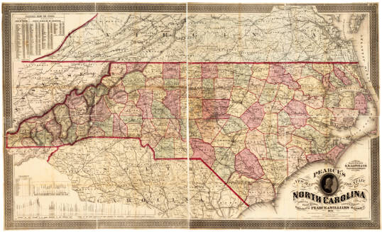Pearce's new map of the state of North Carolina: compiled from actual public and private surveys