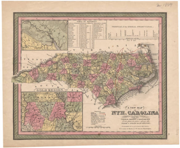A new map of Nth. Carolina: with its canals, roads & distances from place to place, along the stage & steam boat routes