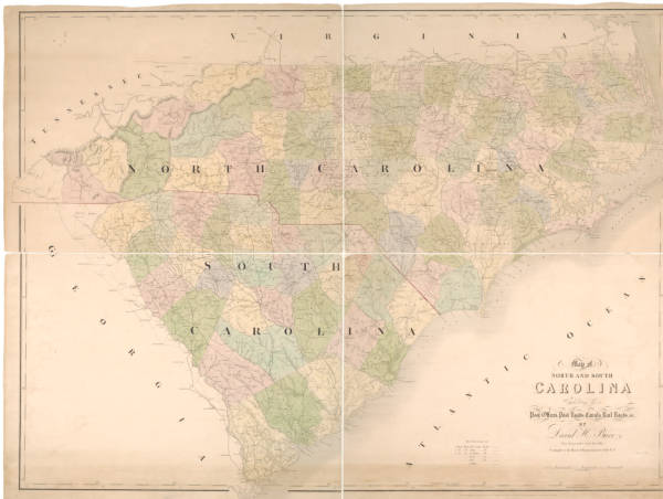 Map of North and South Carolina exhibiting the post offices, post roads, canals, rail roads, &c.