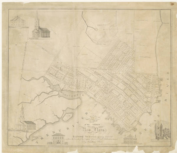 A plan of the town of New Bern and Dryborough: with the lands adjoining contained within the bounds of the original grant to Dan'l Richardson in 1713