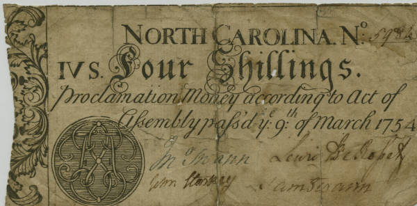 Four-shilling bill of credit, 1754