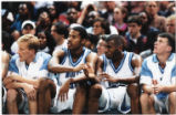 UNC basketball players on sidelines