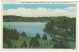 View of Big Lake, Showing Cabins of Silver Pines Camp, Roaring Gap, N. C.