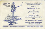 Invitation for Alamance Day Celebrations on August 17, 1922