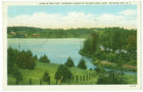 View of Big Lake, Showing Cabins of Silver Pines Camp, Roaring Gap, N.C.