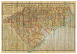 Scarborough's Map of North and South Carolina Showing Railroads, Highways, Counties, Townships,...