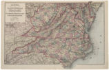 Watson's new county, railroad, and distance map of North Carolina, Virginia, W. Virg[ini]a,...