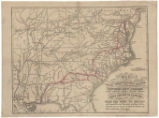 Map of the great metropolitan mail route from New York to New Orleans, passing through a high...