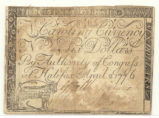 Six-dollar bill of credit, 1776