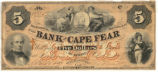 Bank of Cape Fear five-dollar note, 1858