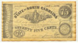 North Carolina 1863 seventy-five-cent treasury note; modern reproduction, ca. 1990