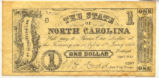 North Carolina 1862 one-dollar treasury note; modern reproduction, ca. 1990